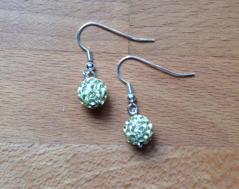 Lime green disco ball dangley earrings