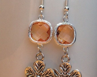 Orange/ peach crystal and flower earrings