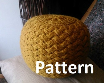 Knitted Pouf Pattern, Poof, Knitting, Ottoman, Footstool, Home Decor, Pillow, Bean Bag, Pouffe, Floor cushion