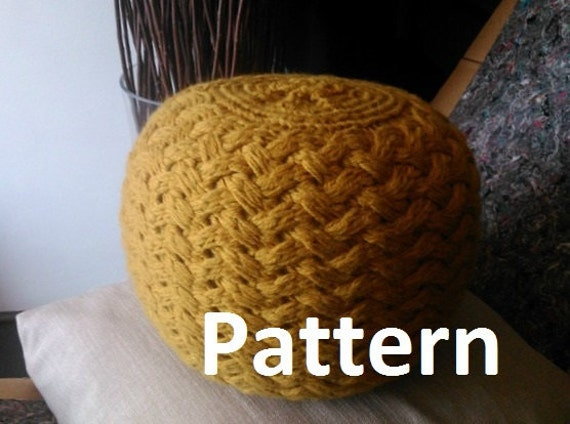 Knitted pouf pattern poof knitting ottoman footstool by iswoolish - Knitted pouf ottoman pattern ...