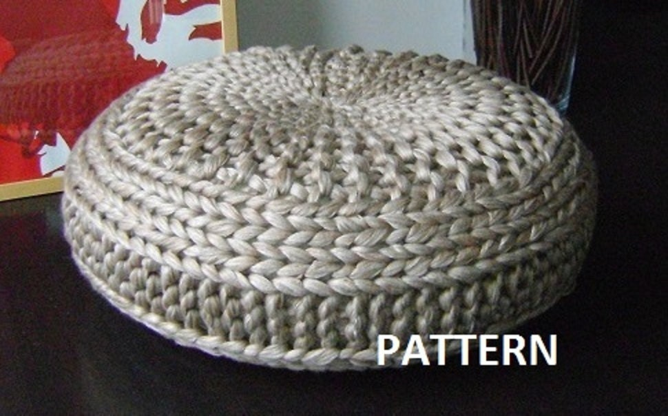 Knitted Ribbing Patterns : Knitted Extra Large Pouf Pattern Poof Knitting by isWoolish