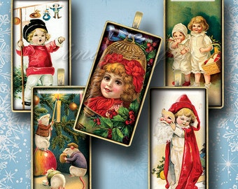 """Vintage Christmas printable dominoes digital collage sheet 1x2"""" Domino Tiles art, 1x2 inch download images 15x30mm bamboo 0.75x1.5""""(19x38mm)"""