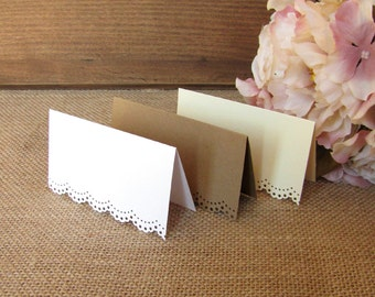 Blank place cards (30) - Blank place card - Lace placecards - Kraft place card - Lace place card