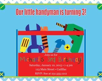 Tools Birthday Invitation • Boys Birthday Invitation • Tools Birthday Party Invitation for Toddler
