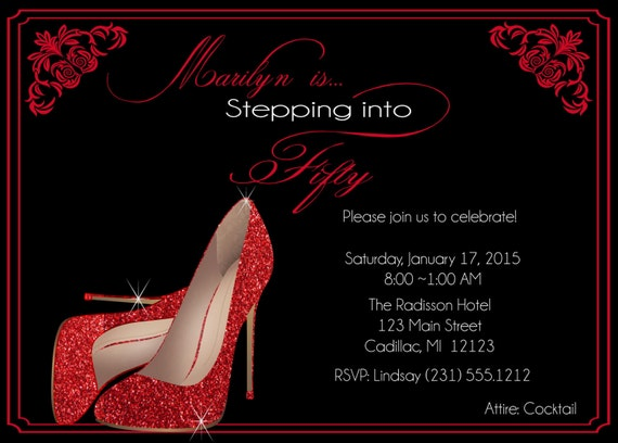 Red Glitter Shoes Birthday Invitation Fifty amp Fabulous