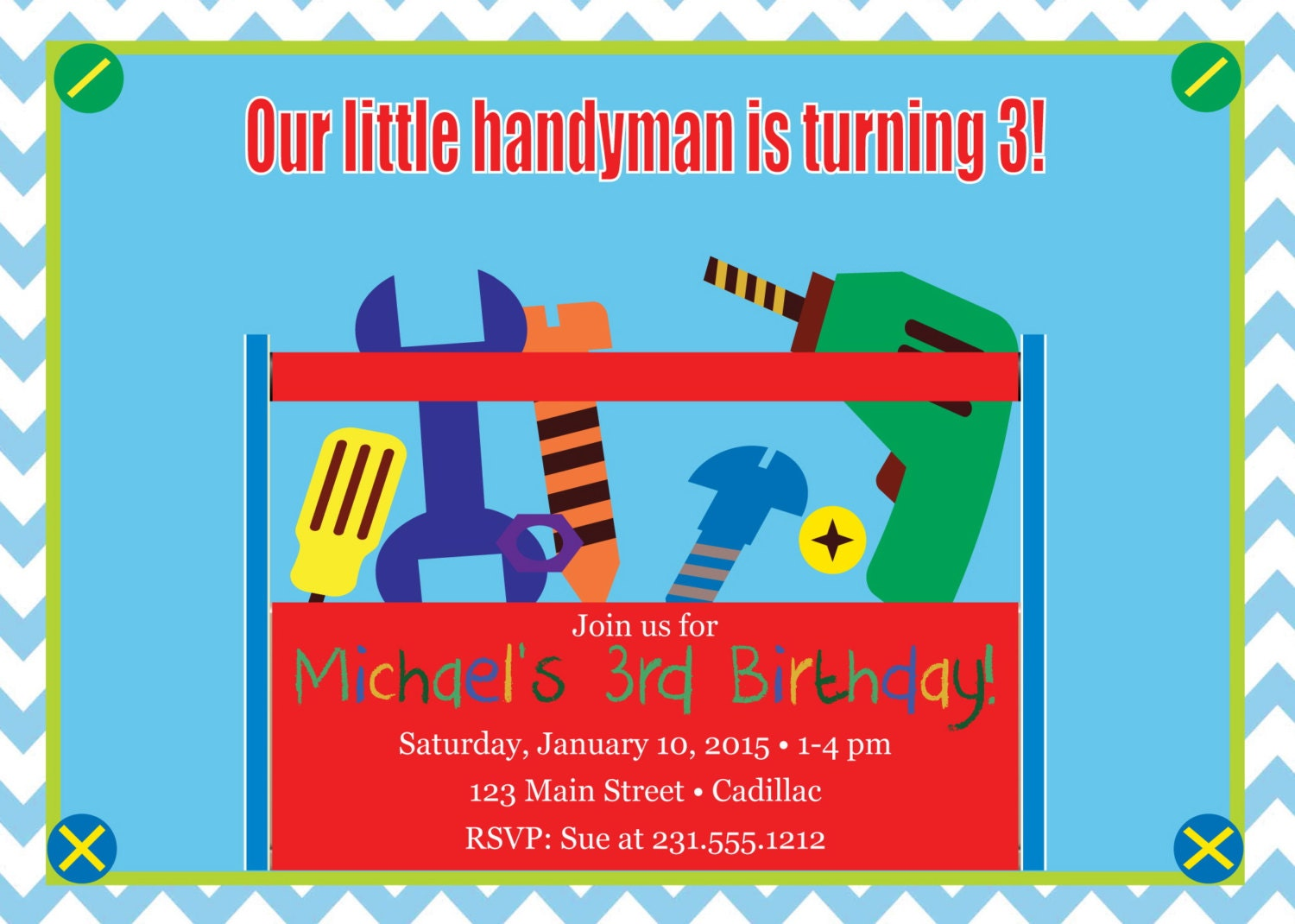 Tools Birthday Invitation Boys Birthday Invitation Tools