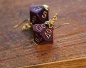 Purple/Blue D10 Earrings With Gold Trim