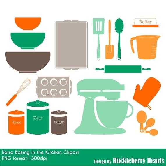 Retro Kitchen Baking Clipart Digital Clip Art Digital