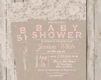 Rustic Baby Shower Invitation, Burlap and Lace Invitation, Girl Baby Shower Invitation, Invite, Shabby, Printable Invitation, Customize, 5x7