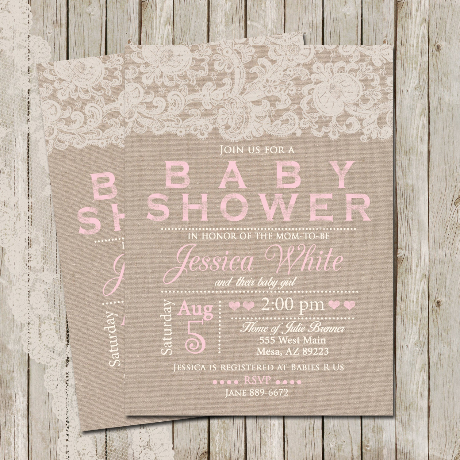 Rustic Baby Shower Invitation Burlap and Lace Invitation