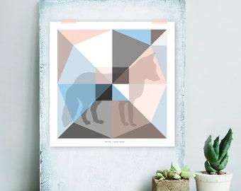 Origami Unfolded print fox | printable wall art | digital pdf file | instant download