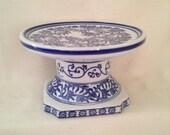 Vintage Blue Floral Pedestal Plate -Desert- Plant Stand