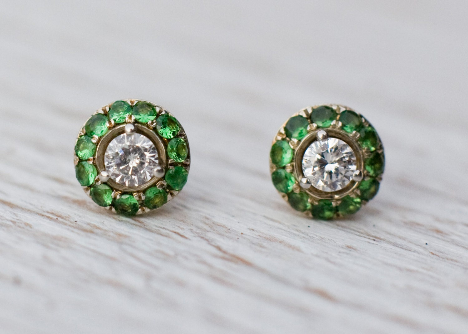 stud earrings with green garnet in platinum and 14k