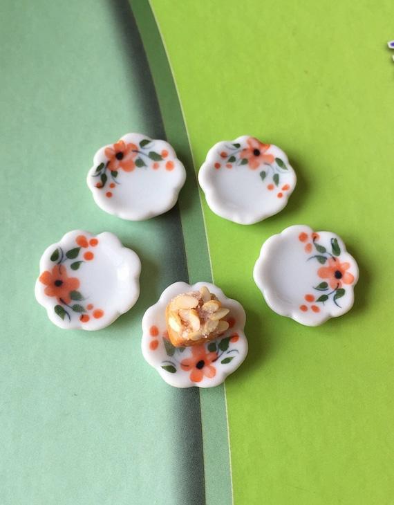 5 Miniature Ceramic Plate,Miniature Food Plate,Dollhouse Plate,Miniature tray,Ceramic Plate,Miniature food accessories,Miniature DIY