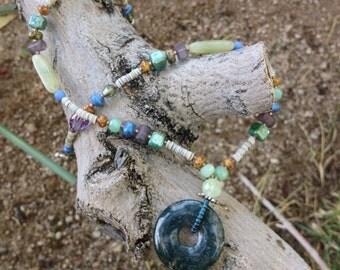 Blue Agate Necklace - blue slice agate - gemstone choker - unusual bead jewelry - agate slice - moss agate - something blue gift