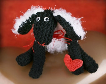 Knitted sheep with heart, Handmade cute sheep, Knitted animal, Wool sheep with heart, Stuffed sheep, Romantic gift