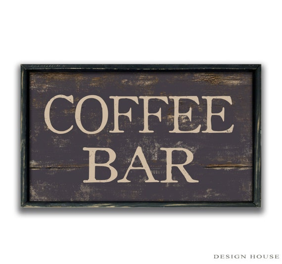 Handmade Wood Coffee Bar Sign Business signs Coffee shop signs