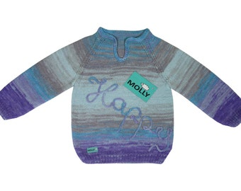 """Blue and grey organic sweater """"happy childhood"""" in size 104, 2,5-3 years old child, cotton and acrylic"""