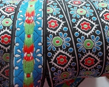 One yard Vintage Western Germany trim~colorful floral geometric pattern~multi, red, blue, green and black