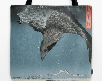 Japanese-Style Raven Tote Bag with Art Printed on Both Sides, XL Bag for Groceries or Anything Else!