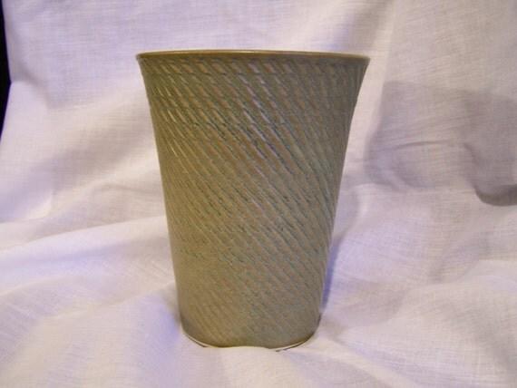 Japanese Pottery Vase Yamasan 1960's Olive Green