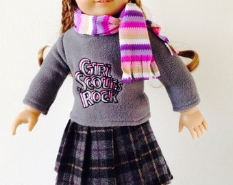 American Girl Doll Clothes 6pc Sweater+Skirt+Leggings+HatScarf+Boots 290B