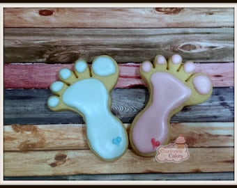 "Baby Feet  Baby Shower decorated Sugar Cookies 3"" -1 dozen"