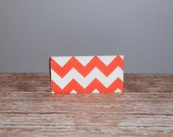 Checkbook Cover - Orange Chevron