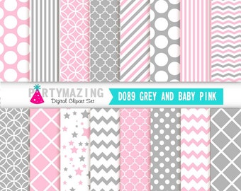 Pink Digital Paper Pack, 16 Basic Scrapbook Background Paper, Chevron Polka, Dot Background, Stripe, Cardmaking Printable Paper- D089