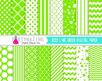 Lime Green Digital Paper Pack, 16 Basic Scrapbook Background Paper, Chevron, Polka Dot Background, Stripe, Cardmaking Printable Paper- D222