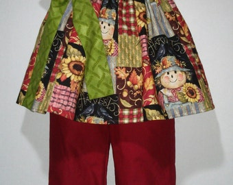 Baby Infant Toddler Girls Fall Scarecrow Leaves Sunflowers Boutique Peasant Shirt and Pants Outfit! Perfect for Fall and Thanksgiving!