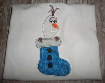 Girls Stocking Olaf Christmas Winter Frozen Boutique Birthday Party Embroidered TShirt Shirt! Sizes 2 ,3, 4, 5, 6, 7, 8
