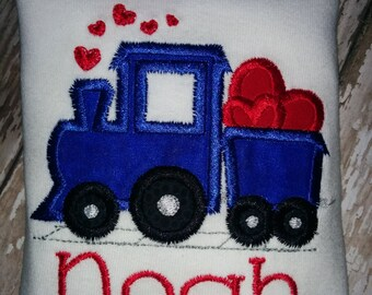 Choo Choo Train and Hearts Valentine's Day Embroidered Shirt T-Shirt Boy! Vehicle