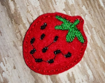 Set of 4 Strawberry Food Fruit Glitter Feltie Felt Embellishment Bow! Felties Applique Party Birtjday Party Summer Planner Clip