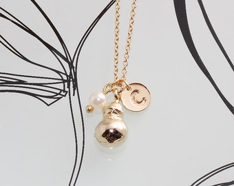 Gold Plated, Simple Christmas Ornament Ball Pendant with Personalized Initial and White Pearl, Necklace