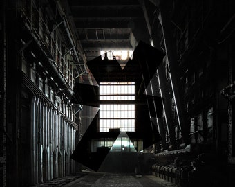 Photomontage of dark pictures of an abandoned power station