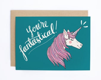 Unicorn Card, Unicorn Thank You, Thank You Card, Thank You Card for Friend, Friendship Card, Just Because Card, Card for Friend - C-226