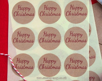 Happy Christmas Kraft Brown Sticker 40mm (1 1/2in) Kraft Stickers, Envelope Seals, Labels, Christmas Labels, Parcel Stickers -  PSS044
