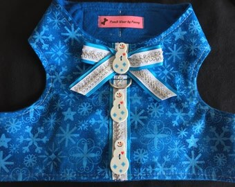 Dog Harness, Size Large, Snowmen and Snowflakes