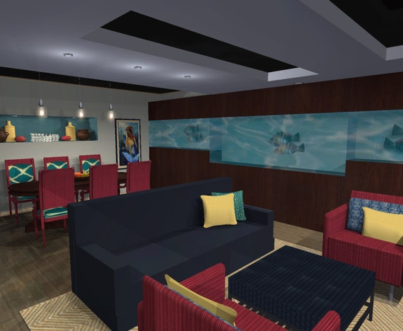 3d Virtual Interior Designer Aquatic Basement Living By