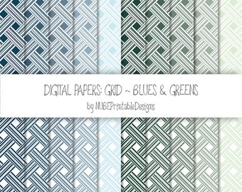 Stripes ~ Blues and Greens ~ Scrapbook Digital Papers 12x12; Striped Seamless Patterns; Scrapbooking; Lines, Weaves; INSTANT DOWNLOAD