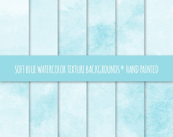 Soft Blue Watercolor Texture Digital Paper; Hand Painted Watercolor Backgrounds ~ Watercolor Scrapbook Paper ~ Watercolor Card Background