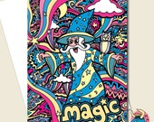 Wizard Card, Birthday Card, Greeting Card, Boys Card, Fun Card, Childrens Card, Card For Him, Card For Men, Boyfriend Card, Husband Card