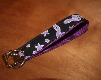 Purple star and music note fabric keychain/keyfob/wristlet