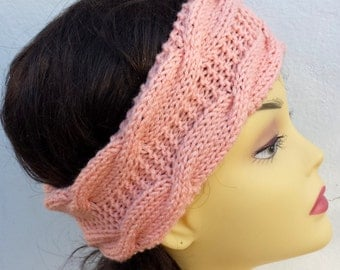 Peach Hand Knitted Headband, Hair Accessories, peach knitted headband, cable knit salmon hairband, women knitted headband, winter accessory