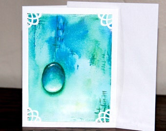 Water Drop Note Card, Turquoise Blue Water Drop Jewel