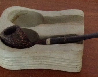 Vintage pipe rack, hand painted and distressed, solid wood, light grey color, holds two pipes