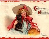 Halloween's Greetings postcard 1914, Artist Frances Brundage's illustration, Gabriel & Sons Publishers