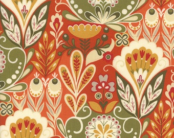 Orange Fabric by the Yard, Allure Fabric, Sanae, Moda Fabrics, Bright Orange/Red/Green Floral Quilting Fabric, 16100 13