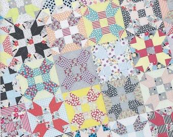 """Gardenvale Stars Quilt Pattern, Jen Kingwell Designs, Modern Star Quilt Pattern, Scrap Quilt Pattern, 60""""x 70"""""""